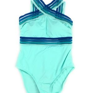 Kenneth Cole Women's High Neck One Piece Swimsuit
